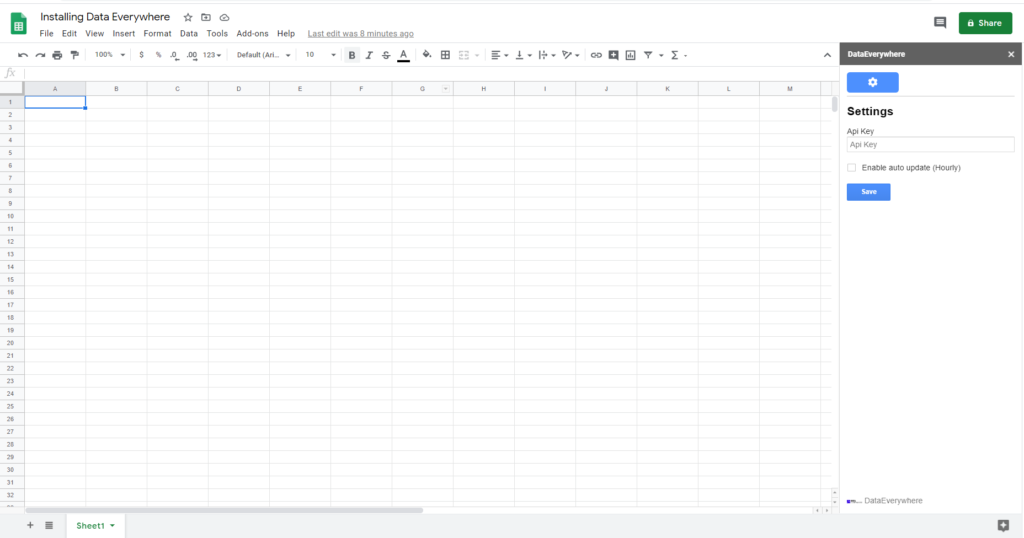 Installing the Google Sheets Add-On 4
